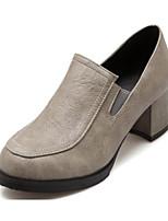 Недорогие -Жен. Полиуретан Весна На каждый день / Милая Обувь на каблуках На толстом каблуке Круглый носок Черный / Серый / Желтый