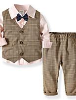 Недорогие -Дети Мальчики Классический Повседневные Однотонный Длинный рукав Обычный Обычная Полиэстер Набор одежды Синий