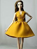 Недорогие -Платья Платье Для Кукла Барби Темно-желтый Хлопковая ткань / Нетканый материал Платье Для Девичий игрушки куклы