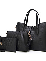 cheap -Women's Zipper Polyester / PU Bag Set Crocodile 3 Pcs Purse Set Black / Gold / Bronze