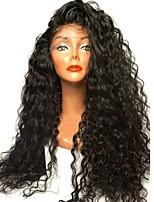 baratos -Cabelo Natural Remy Frente de Malha Peruca Cabelo Brasileiro Kinky Curly Preta Peruca Corte em Camadas Parte lateral 180% Densidade do Cabelo com o cabelo do bebê Riscas Naturais Para Mulheres Negras