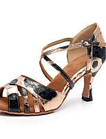 Недорогие -Жен. Обувь для латины Синтетика На каблуках Кубинский каблук Персонализируемая Танцевальная обувь Черный и золотой