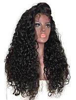 Недорогие -человеческие волосы Remy Лента спереди Парик Перуанские волосы Кудрявый Черный Парик Стрижка каскад 150% Плотность волос с детскими волосами Природные волосы Для темнокожих женщин Необработанные