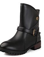 Недорогие -Жен. Полиуретан Осень Ботинки На толстом каблуке Закрытый мыс Ботинки Черный