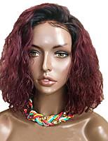 Недорогие -Натуральные волосы Лента спереди Парик Стрижка боб Короткий Боб Rihanna стиль Бразильские волосы Волнистый Вино Парик 130% Плотность волос / Природные волосы / 100% ручная работа / Природные волосы