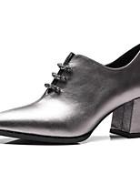 Недорогие -Жен. Наппа Leather Весна Обувь на каблуках На толстом каблуке Закрытый мыс Ботинки Черный / Серебряный