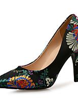 Недорогие -Жен. Сатин Весна & осень Шинуазери (китайский стиль) Обувь на каблуках На шпильке Заостренный носок Цветы из сатина Черный / Пурпурный / Тёмно-синий / Свадьба / Для вечеринки / ужина