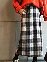 Недорогие -женские юбки миди bodycon - плед