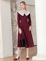 Недорогие -Жен. Элегантный стиль А-силуэт Платье - Однотонный, Кружева Средней длины