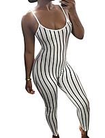 Недорогие -Жен. Повседневные Белый Черный Комбинезоны, Полоски M L XL Без рукавов