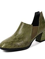 Недорогие -Жен. Замша / Овчина Осень Обувь на каблуках На толстом каблуке Черный / Военно-зеленный