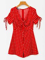 Недорогие -Жен. Повседневные Черный Красный Комбинезоны, Горошек S M L С короткими рукавами