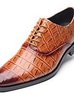 Недорогие -Муж. Официальная обувь Синтетика Весна / Наступила зима На каждый день / Английский Туфли на шнуровке Нескользкий Черный / Винный / Темно-русый