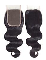 Недорогие -Бразильские волосы / Монгольские волосы 4x4 Закрытие / Бесплатно Part Волнистый Бесплатный Часть Швейцарское кружево Натуральные волосы Жен. Гладкие / обожаемый / Лучшее качество / Черный