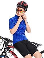 Недорогие -FirtySnow Жен. С короткими рукавами Велокофты и велошорты - Синий Велоспорт Наборы одежды Дышащий Быстровысыхающий Виды спорта Полиэстер Горошек и клетка Горные велосипеды Шоссейные велосипеды Одежда