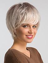 Недорогие -Человеческие волосы без парики Натуральные волосы Естественный прямой Стрижка под мальчика Модный дизайн / Легко туалетный / Удобный Золотистый Короткие Без шапочки-основы Парик Жен.