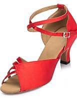 Недорогие -Жен. Обувь для латины Сатин На каблуках Планка Кубинский каблук Персонализируемая Танцевальная обувь Красный / Синий