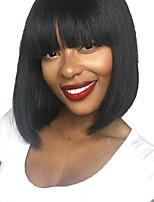 Недорогие -Натуральные волосы Лента спереди Парик Стрижка боб Короткий Боб стиль Бразильские волосы Шелковисто-прямые Черный Парик 130% Плотность волос / Природные волосы / 100% ручная работа / Природные волосы