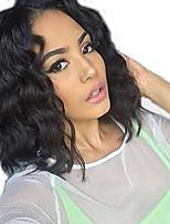Недорогие -Натуральные волосы Лента спереди Парик Стрижка боб Короткий Боб стиль Бразильские волосы Волнистый Черный Парик 130% Плотность волос с детскими волосами Природные волосы Для темнокожих женщин 100