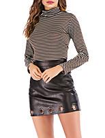 Недорогие -женская хлопковая футболка размера eu / us - водолазка в полоску