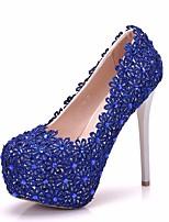 baratos -Mulheres Renda / Couro Ecológico Primavera & Outono Doce Sapatos De Casamento Plataforma Ponta Redonda Pedrarias / Flor de Cetim Azul