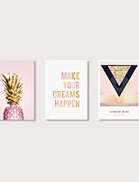 Недорогие -С картинкой Отпечатки на холсте - Слова и фразы Цветочные мотивы / ботанический Modern