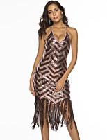 baratos -Mulheres Básico Bainha Vestido - Franjas, Estampa Colorida Médio