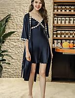 Недорогие -Жен. Глубокий V-образный вырез Шёлк и сатин Пижамы Вышивка
