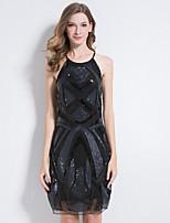 Недорогие -Жен. Элегантный стиль Оболочка Платье - Однотонный / Геометрический принт, Аппликация Выше колена