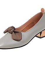 Недорогие -Жен. Полиуретан Весна Обувь на каблуках На низком каблуке Квадратный носок Бежевый / Светло-синий