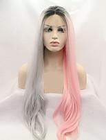 Недорогие -Синтетические кружевные передние парики Жен. Loose Curl Розовый Стрижка каскад 130% Человека Плотность волос Искусственные волосы 24 дюймовый Женский Розовый / Серый Парик Длинные Лента спереди
