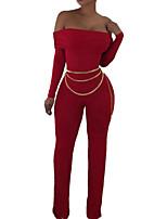 Недорогие -Жен. Повседневные Уличный стиль Черный Красный Комбинезоны, Однотонный M L XL Длинный рукав Все сезоны