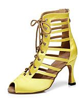 """Недорогие -Жен. Обувь для латины Сатин На каблуках Ленты Каблук """"Клеш"""" Танцевальная обувь Желтый"""