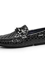 Недорогие -Муж. Кожаные ботинки Кожа Весна & осень Мокасины и Свитер Черный / Коричневый