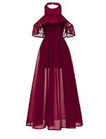 Недорогие -женское платье макси свинг недоуздок вино розово-синее s m l xl