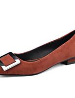 Недорогие -Жен. Замша / Овчина Весна Обувь на каблуках Блочная пятка Черный / Серый / Темно-коричневый