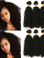 Недорогие -6 Связок Бразильские волосы Kinky Curly человеческие волосы Remy Головные уборы Человека ткет Волосы Удлинитель 8-28 дюймовый Естественный цвет Ткет человеческих волос Типы Лучшее качество Cool
