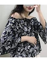 Недорогие -женская тонкая блузка - цветочная с плеча