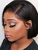 Недорогие -Натуральные волосы Лента спереди Парик Бразильские волосы Шелковисто-прямые Черный Парик Стрижка боб Короткий Боб 130% Плотность волос с детскими волосами Природные волосы Для темнокожих женщин 100