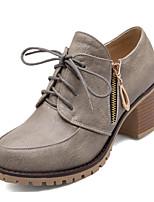 Недорогие -Жен. Наппа Leather Осень Милая / Минимализм Обувь на каблуках На толстом каблуке Круглый носок Ленты Серый / Желтый / Красный