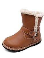 Недорогие -Девочки Обувь Микроволокно Зима Удобная обувь / Зимние сапоги Ботинки для Для подростков Черный / Коричневый / Розовый / Сапоги до середины икры