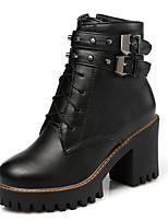 Недорогие -Жен. Полиуретан Осень Ботинки На толстом каблуке Закрытый мыс Ботинки Черный / Темно-коричневый