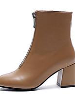 Недорогие -Жен. Наппа Leather Осень Ботинки На толстом каблуке Закрытый мыс Сапоги до середины икры Темно-русый