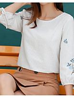 Недорогие -женская футболка азиатского размера - полосатый шею