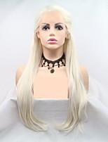 Недорогие -Синтетические кружевные передние парики переплетенный / Loose Curl Белый Стрижка каскад Кремово-белые 130% Человека Плотность волос Искусственные волосы 24 дюймовый Жен. Женский Белый Парик Длинные