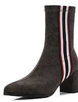 Недорогие -Жен. Кожа Наступила зима На каждый день Ботинки На толстом каблуке Черный / Серый