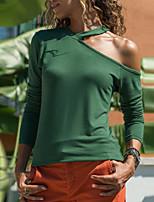 Недорогие -женская футболка - сплошной цвет V-образным вырезом