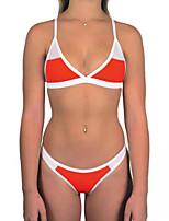 Недорогие -Жен. Оранжевый Красный Желтый Смелые Танкини Купальники - Контрастных цветов M L XL
