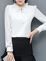 Недорогие -Жен. Плиссировка / Шнуровка Блуза Классический Однотонный