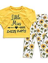 Недорогие -малыш Девочки Активный Повседневные Цветочный принт Длинный рукав Обычный Полиэстер Набор одежды Желтый